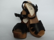 Sanita Wood Pax Chunk Sandal Full Grain Leather Black