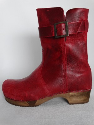 Sanita Wood Lexi Basic Flex Boot Pull Up Leather Dark Red