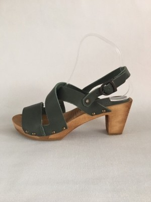 Sanita Wood Olympia Square Flex Sandal Oil Leather Khaki 453200