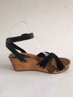 Sanita Wood Thalia Wedge Flex Sandal Vintage Leather/Oil Suede Black 457214