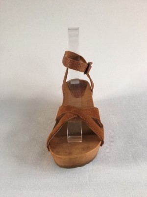 Sanita Wood Thalia Wedge Flex Sandal Vintage Leather/Oil Suede Cognac 457214