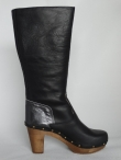 Sanita Wood Polly Plateau Flex Boot F.G. Leather / Metallic Black 456324