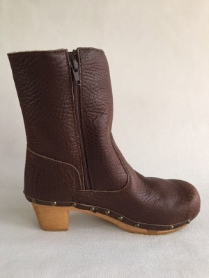 Sanita Wood Pia Block Flex Boot Milled Leather Antique Brown 456450