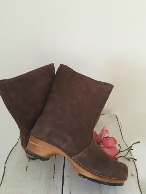 Sanita Wood Charlotta Boot Suede Brown/Stone
