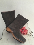 Sanita Wood Charlotta Boot Suede Anthracite/Nude