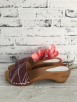 Sanita Wood Arense Sandal Printed Suede Bordeaux
